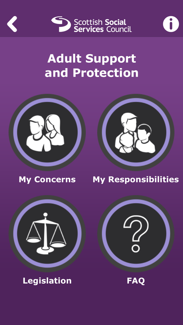 Home page of Adult Support and Protection smartphone app